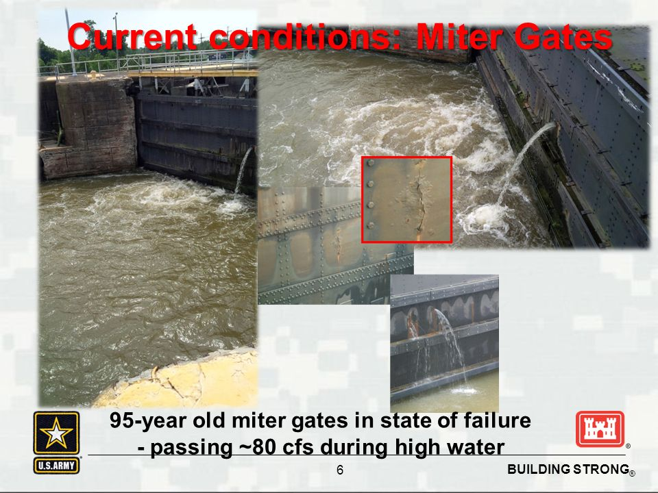 BUILDING STRONG ® 95-year old miter gates in state of failure - passing ~80 cfs during high water Current conditions: Miter Gates 6