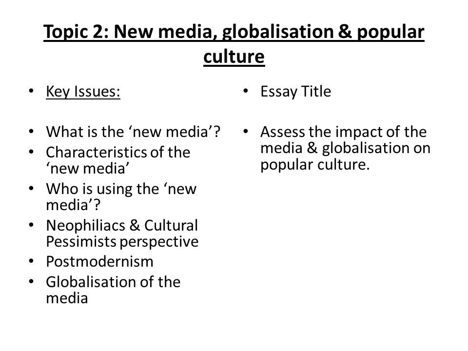 topic new media globalisation popular culture key issues  topic 2 new media globalisation popular culture key issues what is the