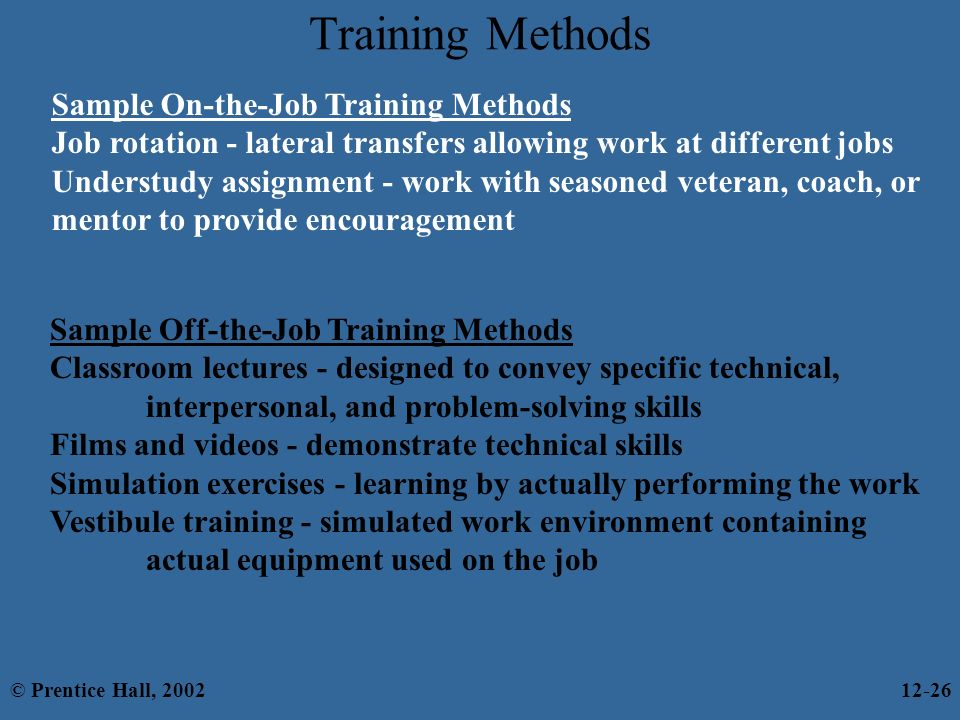 on the job training methods