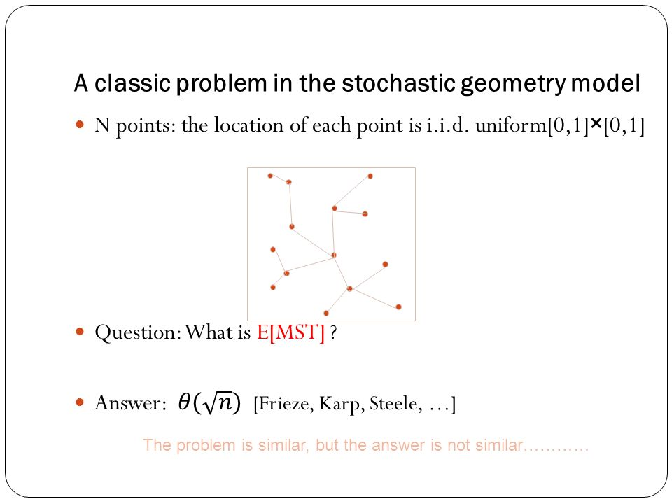 The problem is similar, but the answer is not similar………… A classic problem in the stochastic geometry model