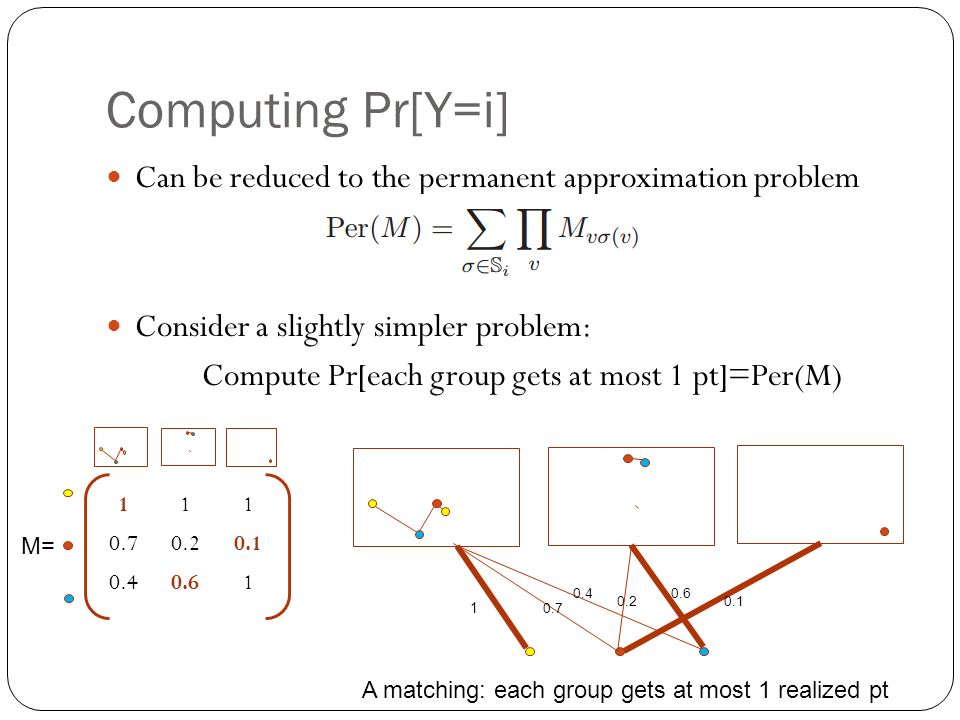Can be reduced to the permanent approximation problem Consider a slightly simpler problem: Compute Pr[each group gets at most 1 pt]=Per(M) A matching: each group gets at most 1 realized pt M=