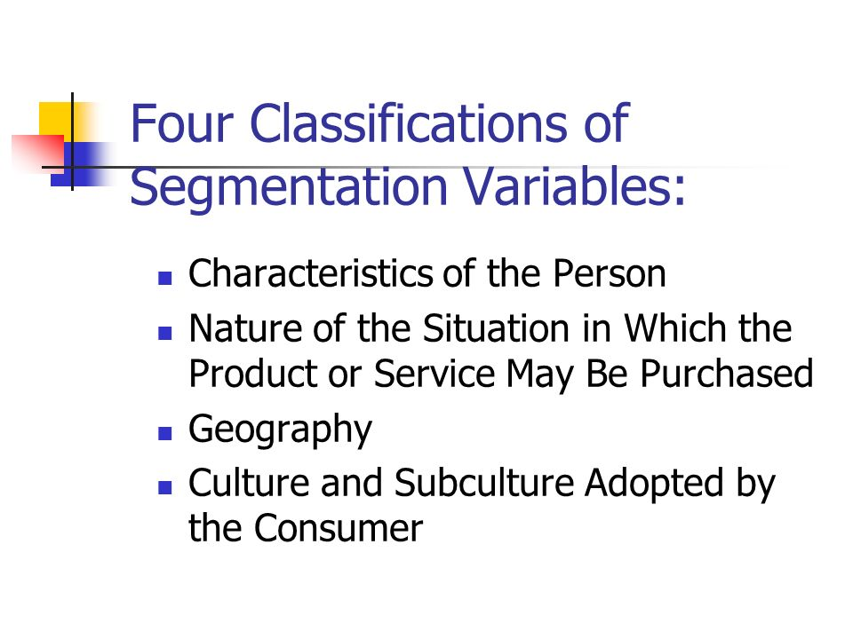 characteristics and classification of the four The marketing mix is a tool that is made up of four unique but interconnected and interdependent variables these are called the 4p's and are product, price, promotion, and place.