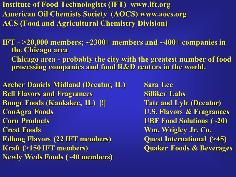 Institute Of Food Technologists IFT Iftorg American Oil Chemists Society