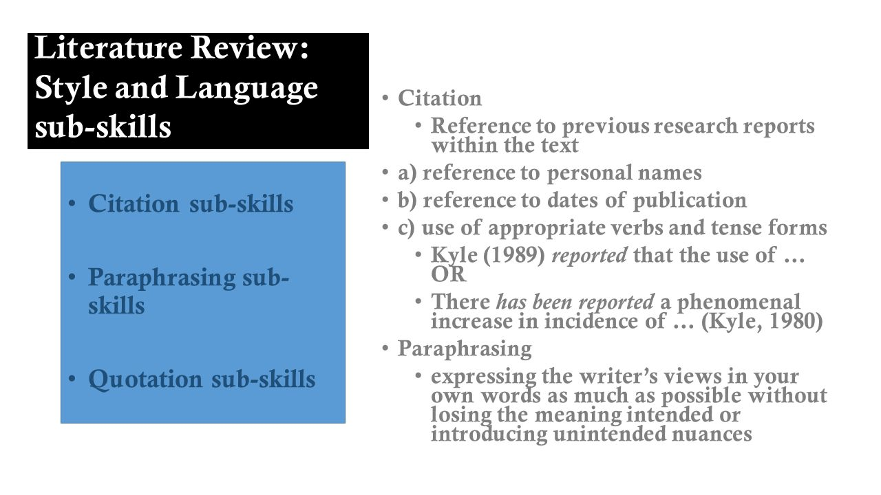 features of a good literature review