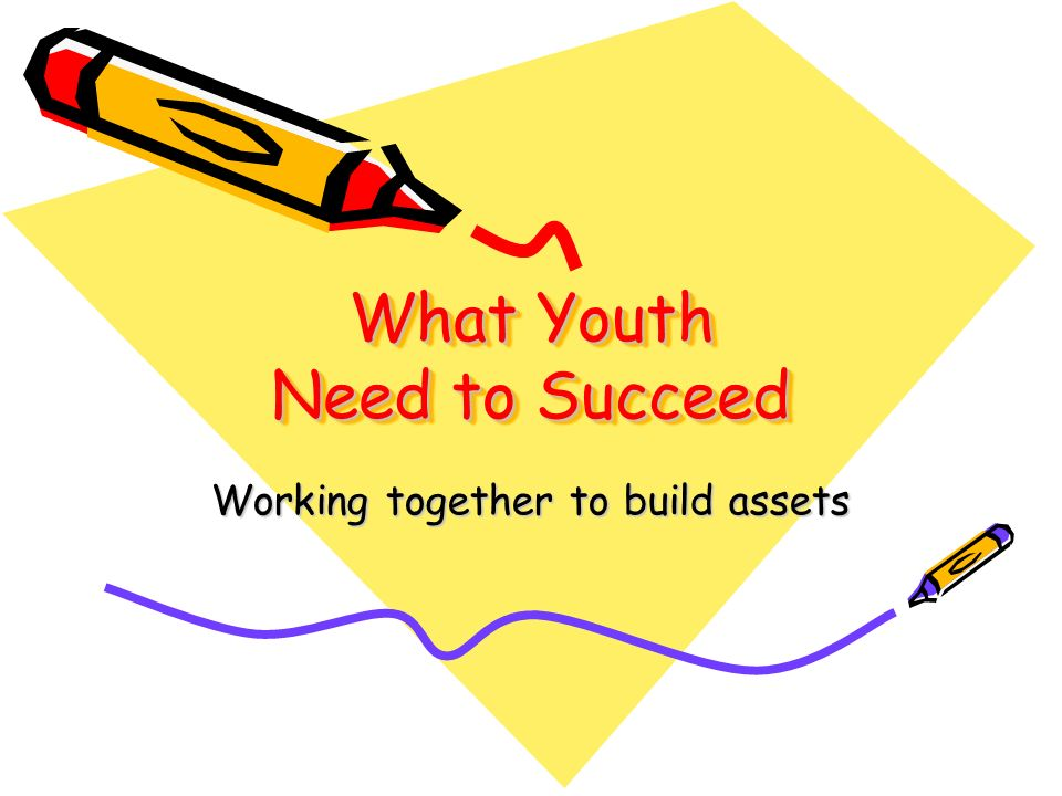 What Youth Need to Succeed Working together to build assets