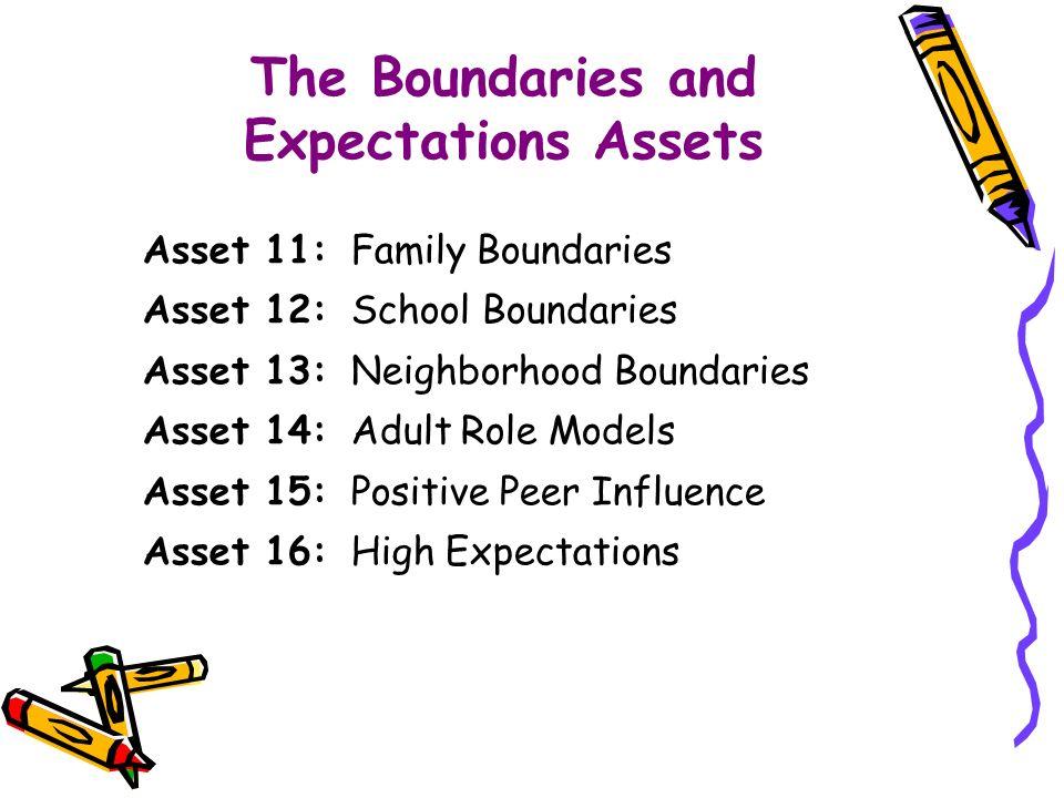 Asset 11: Family Boundaries Asset 12: School Boundaries Asset 13: Neighborhood Boundaries Asset 14: Adult Role Models Asset 15: Positive Peer Influence Asset 16: High Expectations The Boundaries and Expectations Assets