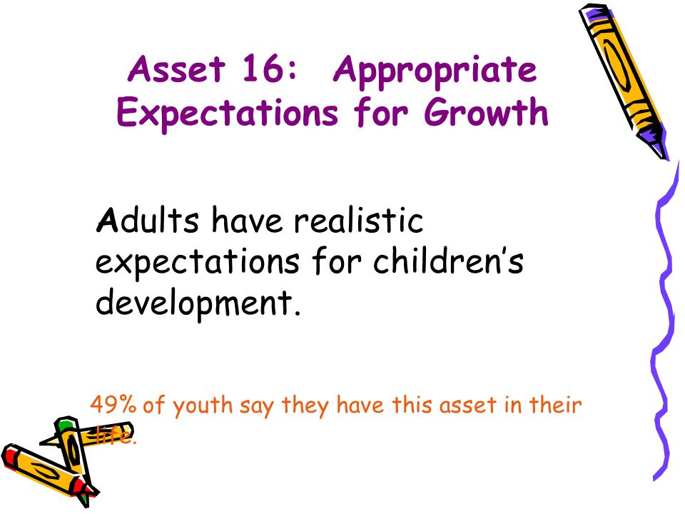 Asset 16: Appropriate Expectations for Growth Adults have realistic expectations for children's development.