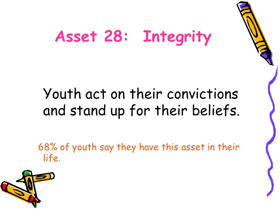 Asset 28: Integrity Youth act on their convictions and stand up for their beliefs.