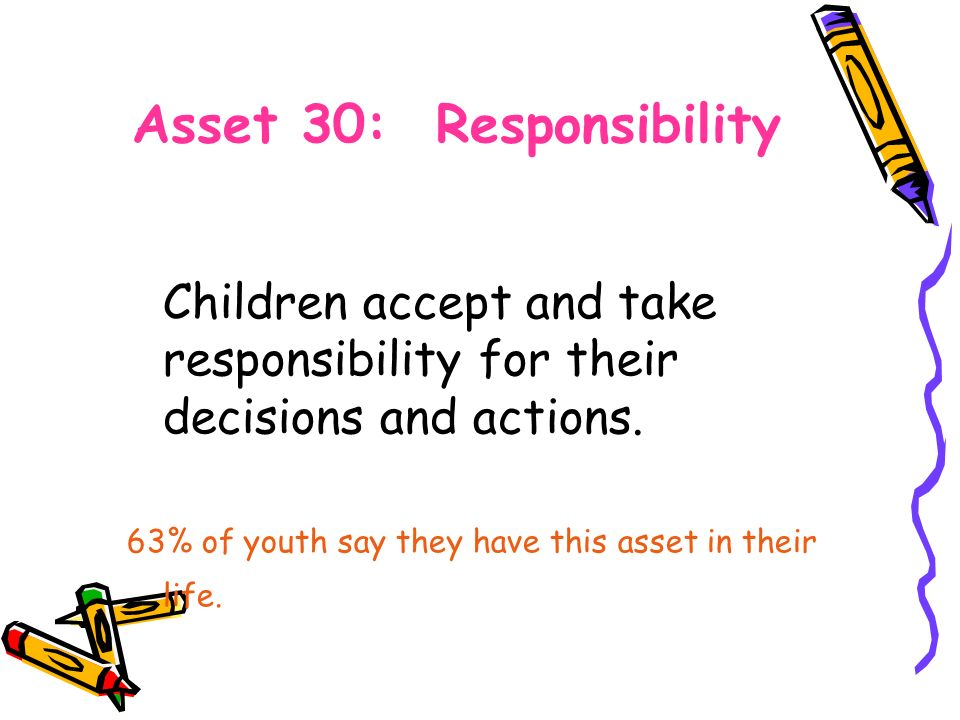 Asset 30: Responsibility Children accept and take responsibility for their decisions and actions.