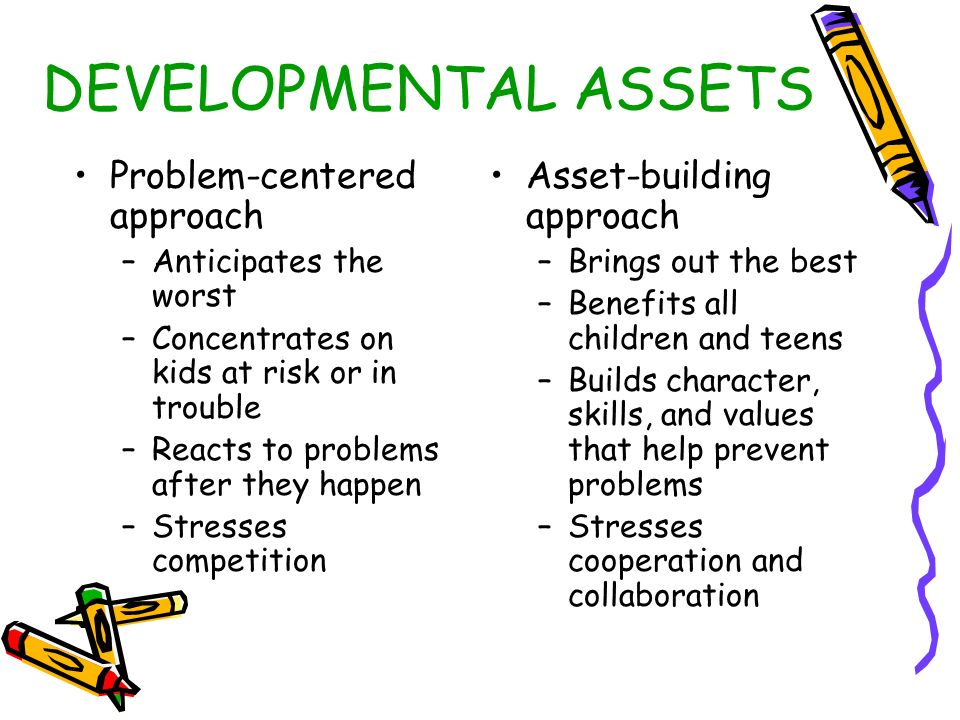 DEVELOPMENTAL ASSETS Problem-centered approach –Anticipates the worst –Concentrates on kids at risk or in trouble –Reacts to problems after they happen –Stresses competition Asset-building approach –Brings out the best –Benefits all children and teens –Builds character, skills, and values that help prevent problems –Stresses cooperation and collaboration
