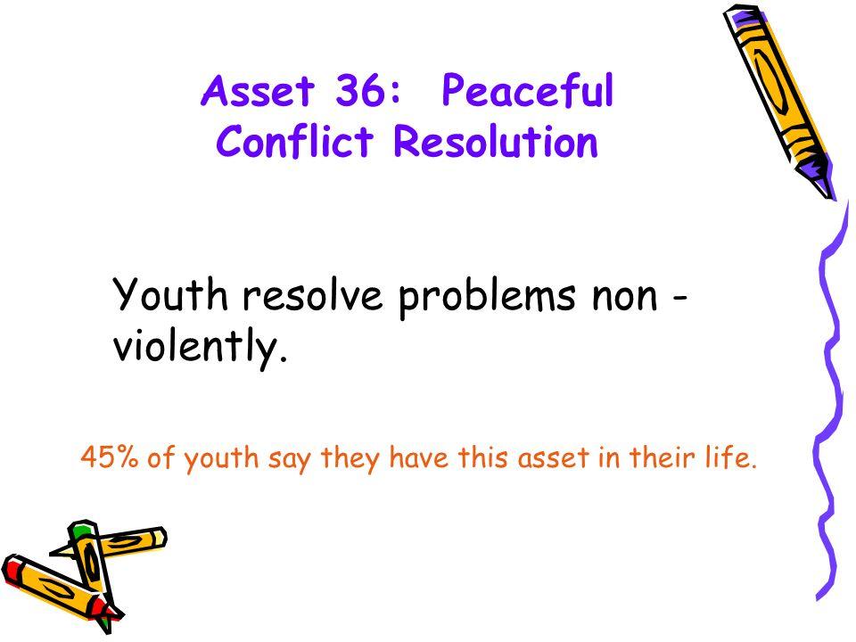 Asset 36: Peaceful Conflict Resolution Youth resolve problems non - violently.