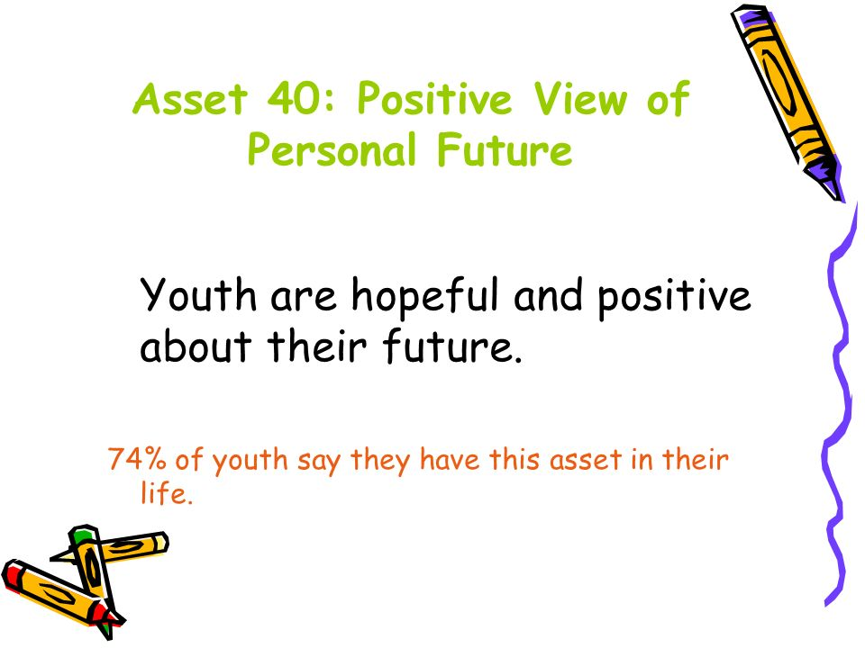 Asset 40: Positive View of Personal Future Youth are hopeful and positive about their future.