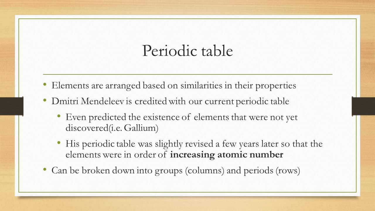 Chapter 6 the periodic table periodic table elements are arranged 2 chapter 6 the periodic table gamestrikefo Choice Image