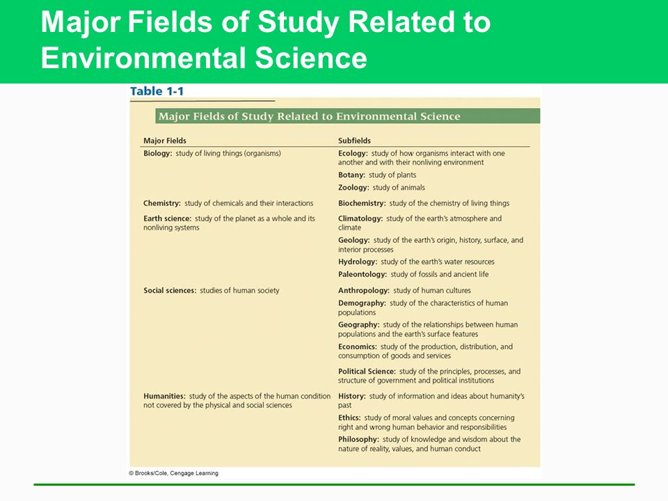 Major Fields of Study Related to Environmental Science