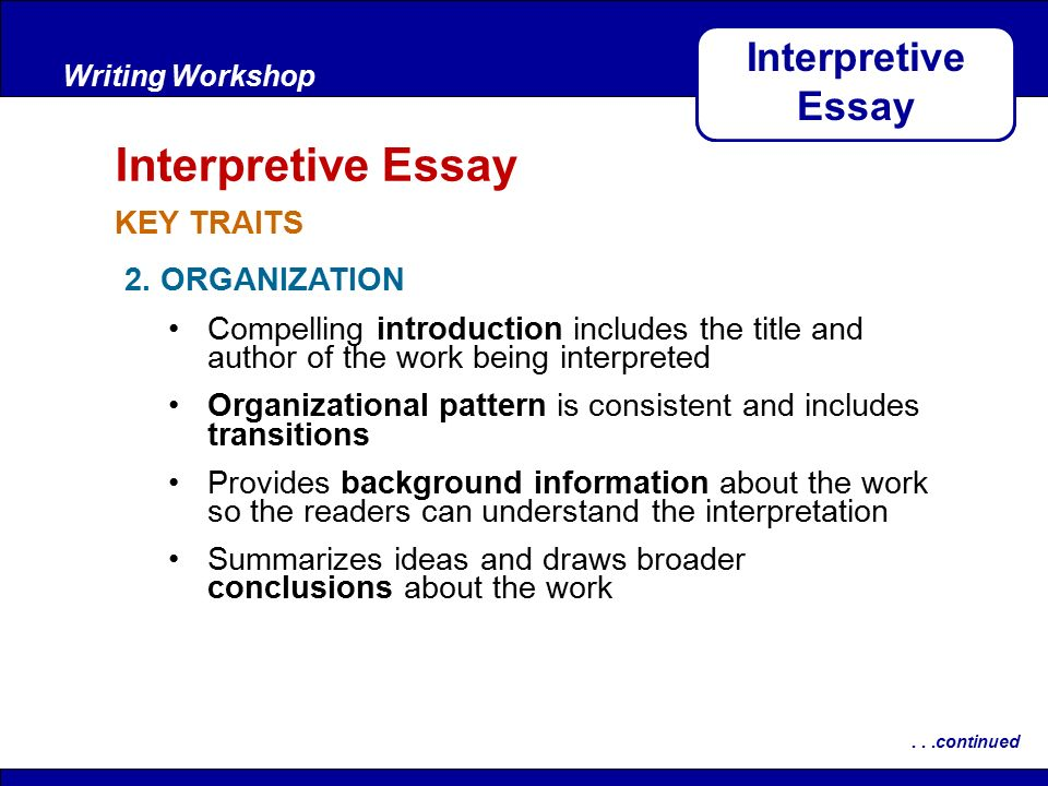 writing interpretive essays