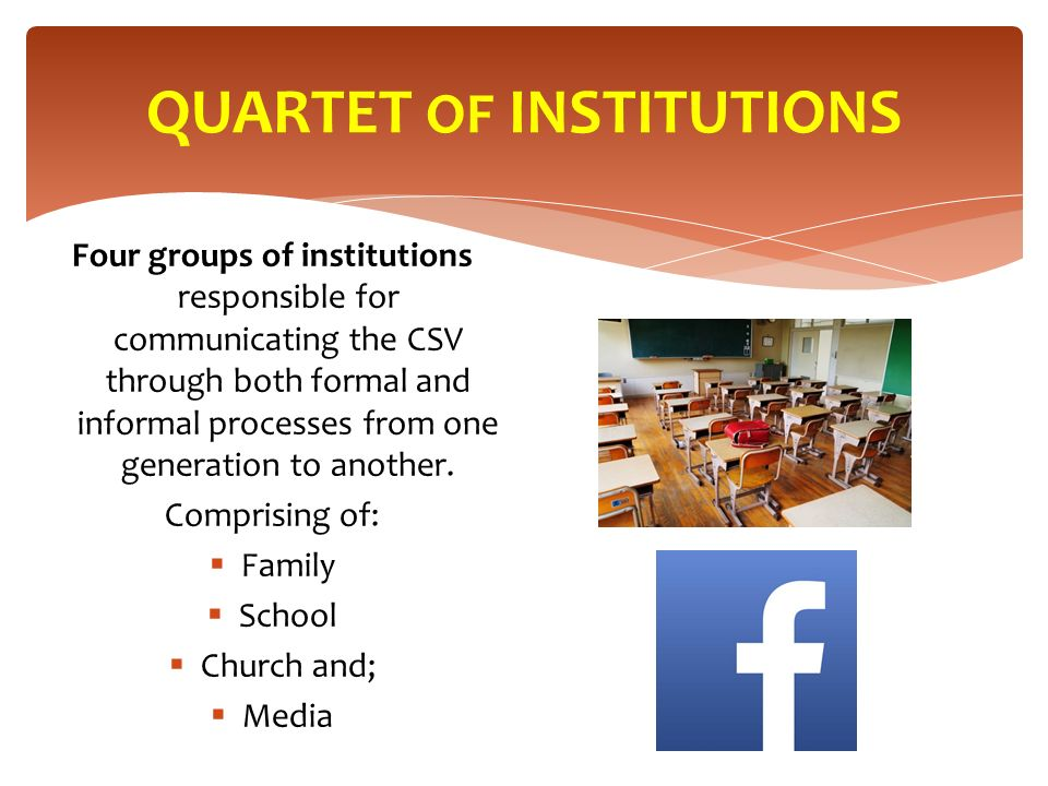 QUARTET OF INSTITUTIONS Four groups of institutions responsible for communicating the CSV through both formal and informal processes from one generation to another.