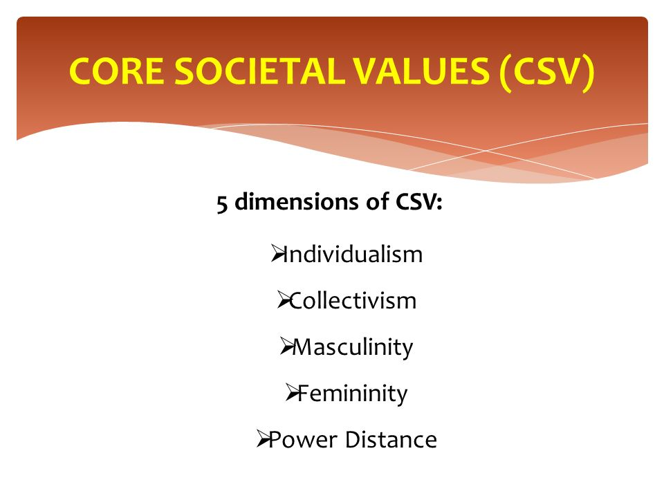 5 dimensions of CSV:  Individualism  Collectivism  Masculinity  Femininity  Power Distance