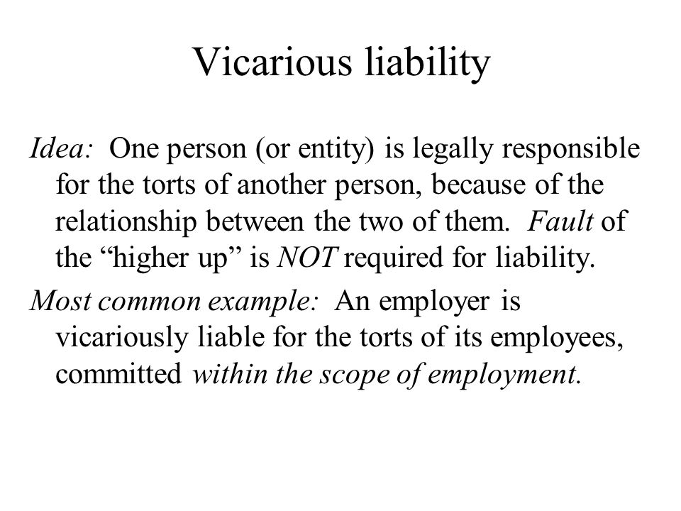vicarious liability tort problem questions