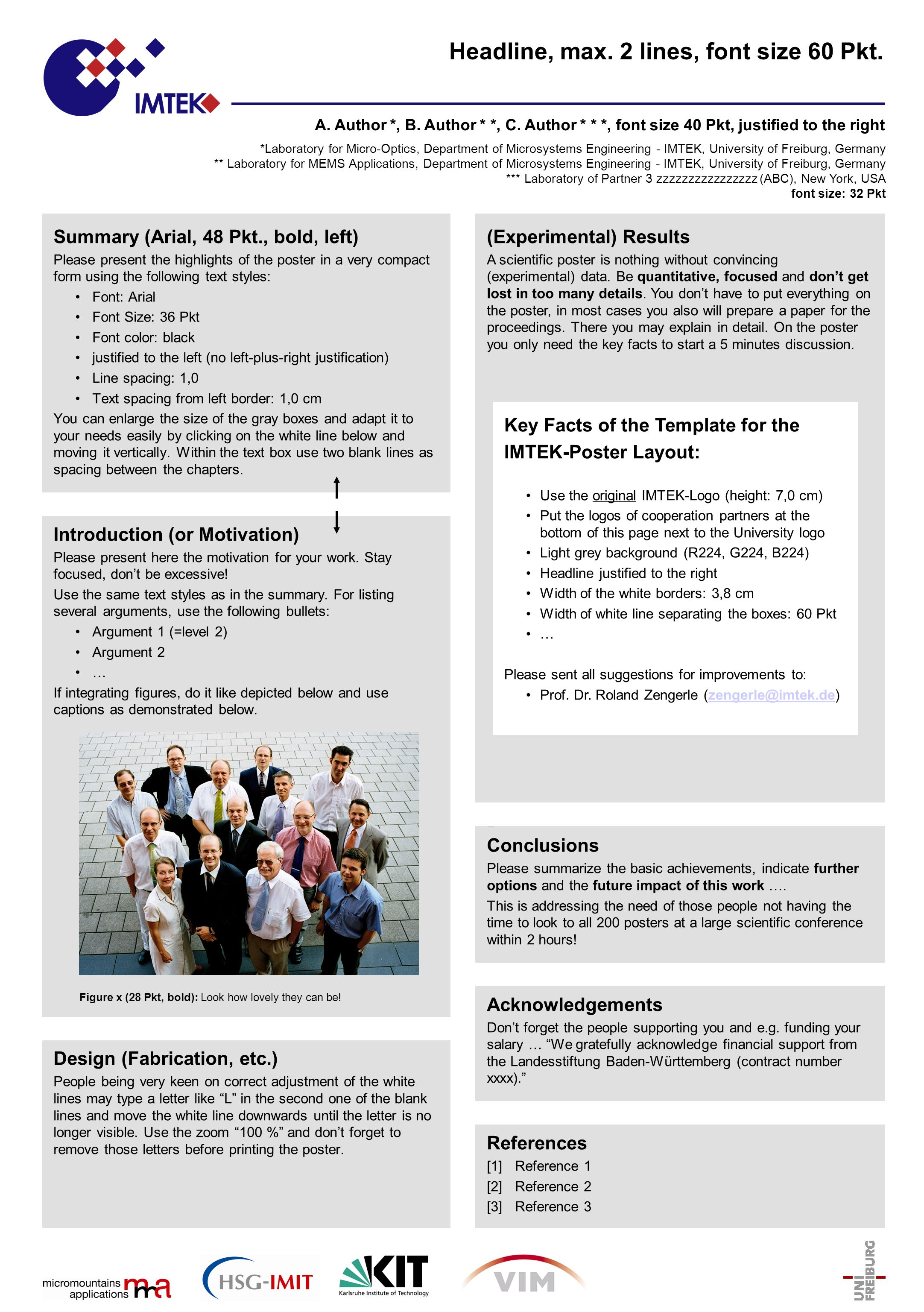 Font size for scientific poster