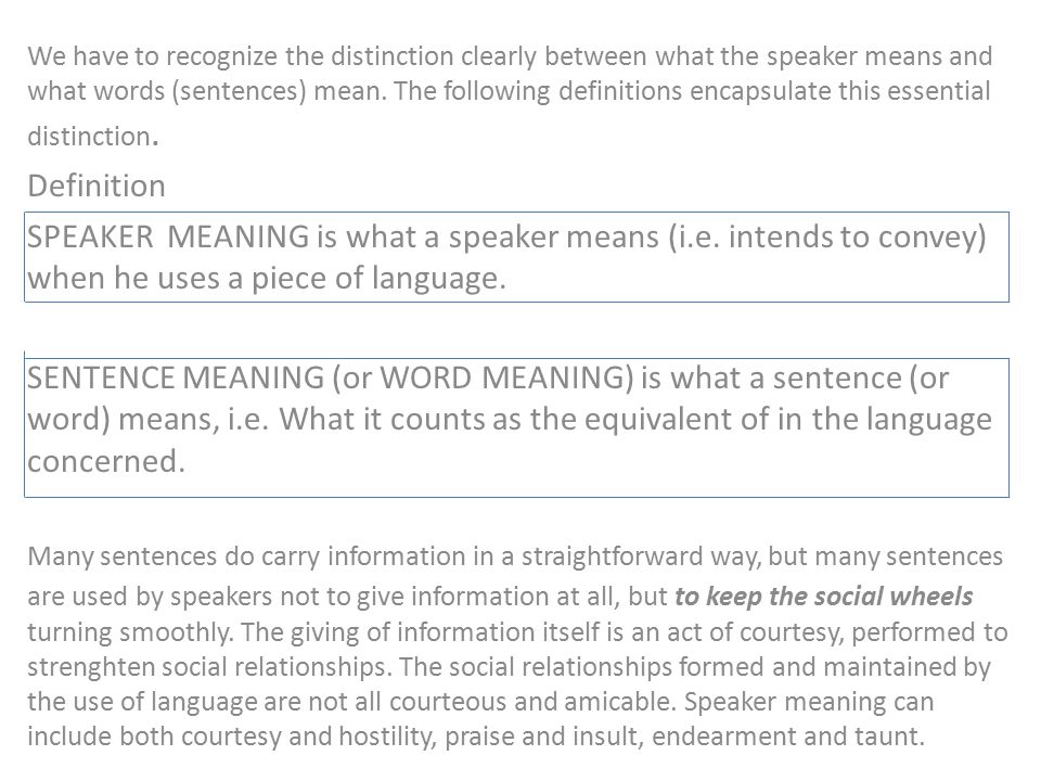 Attractive We Have To Recognize The Distinction Clearly Between What The Speaker Means  And What Words (