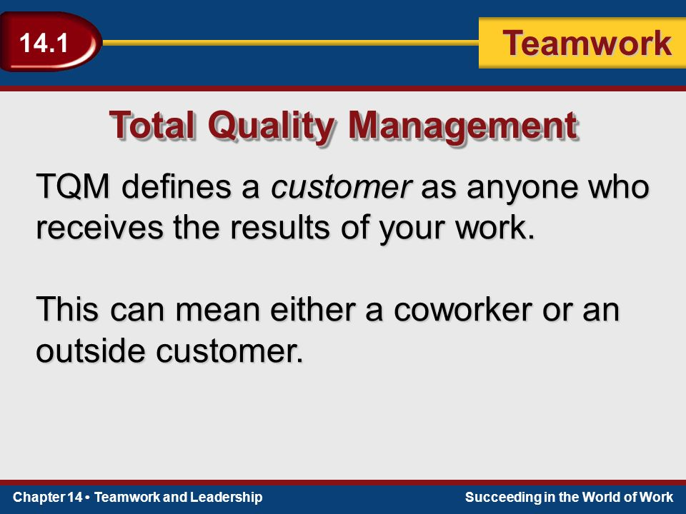 Chapter 14 Teamwork and LeadershipSucceeding in the World of Work Teamwork 14.1 Total Quality Management TQM defines a customer as anyone who receives the results of your work.
