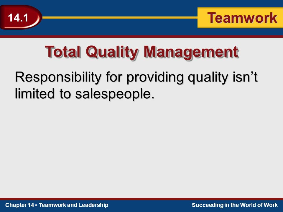Chapter 14 Teamwork and LeadershipSucceeding in the World of Work Teamwork 14.1 Total Quality Management Responsibility for providing quality isn't limited to salespeople.