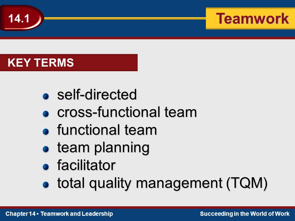 Chapter 14 Teamwork and LeadershipSucceeding in the World of Work Teamwork 14.1 self-directed cross-functional team functional team team planning facilitator total quality management (TQM) KEY TERMS