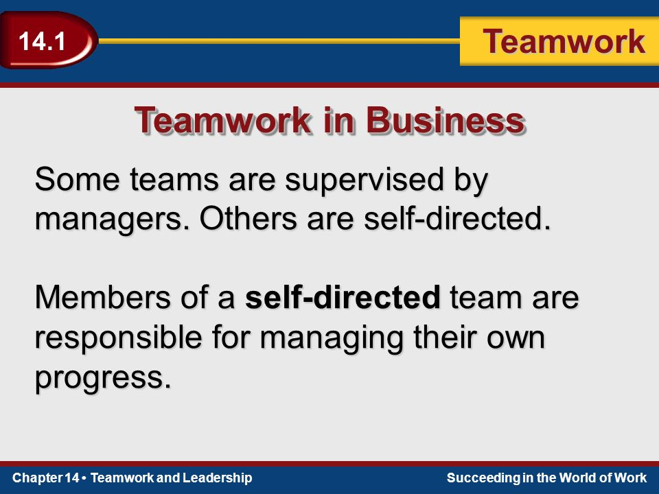Chapter 14 Teamwork and LeadershipSucceeding in the World of Work Teamwork 14.1 Setting Goals A good place to start is with your company's overall goal, or mission.