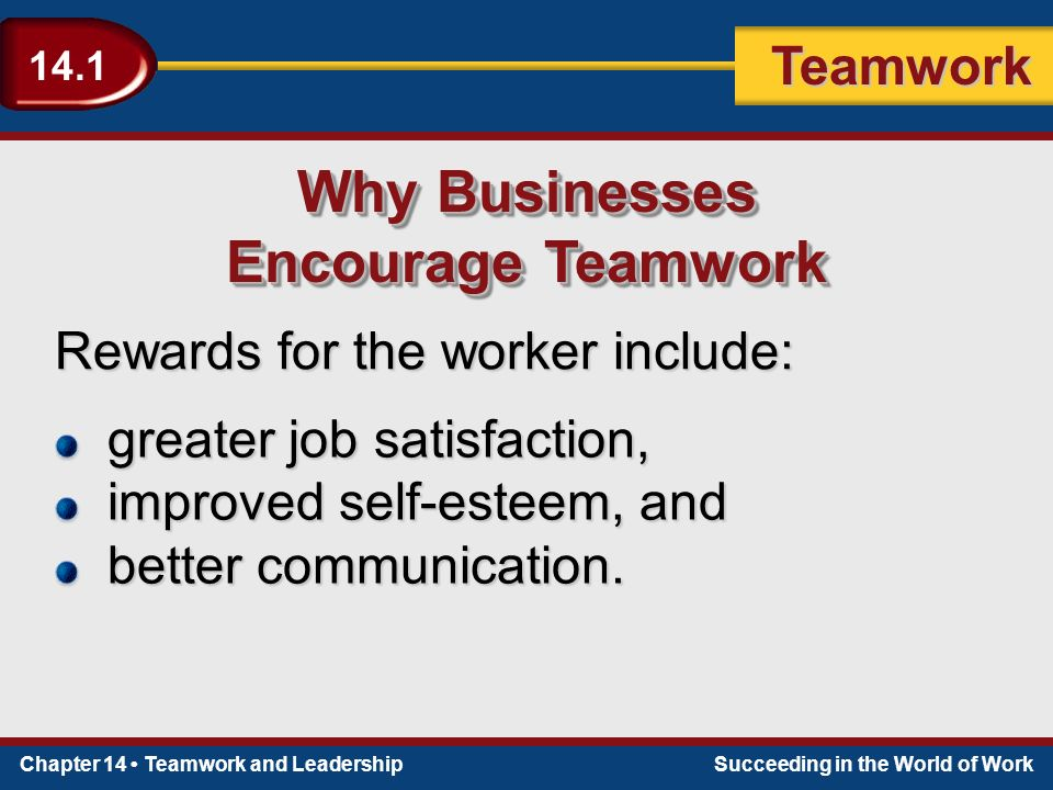 Chapter 14 Teamwork and LeadershipSucceeding in the World of Work Teamwork 14.1 Teams rotate tasks among members.