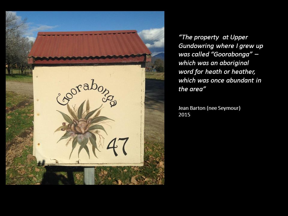 The property at Upper Gundowring where I grew up was called Goorabonga – which was an aboriginal word for heath or heather, which was once abundant in the area Jean Barton (nee Seymour) 2015