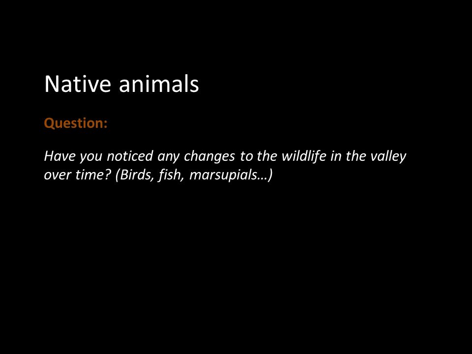 Native animals Question: Have you noticed any changes to the wildlife in the valley over time.
