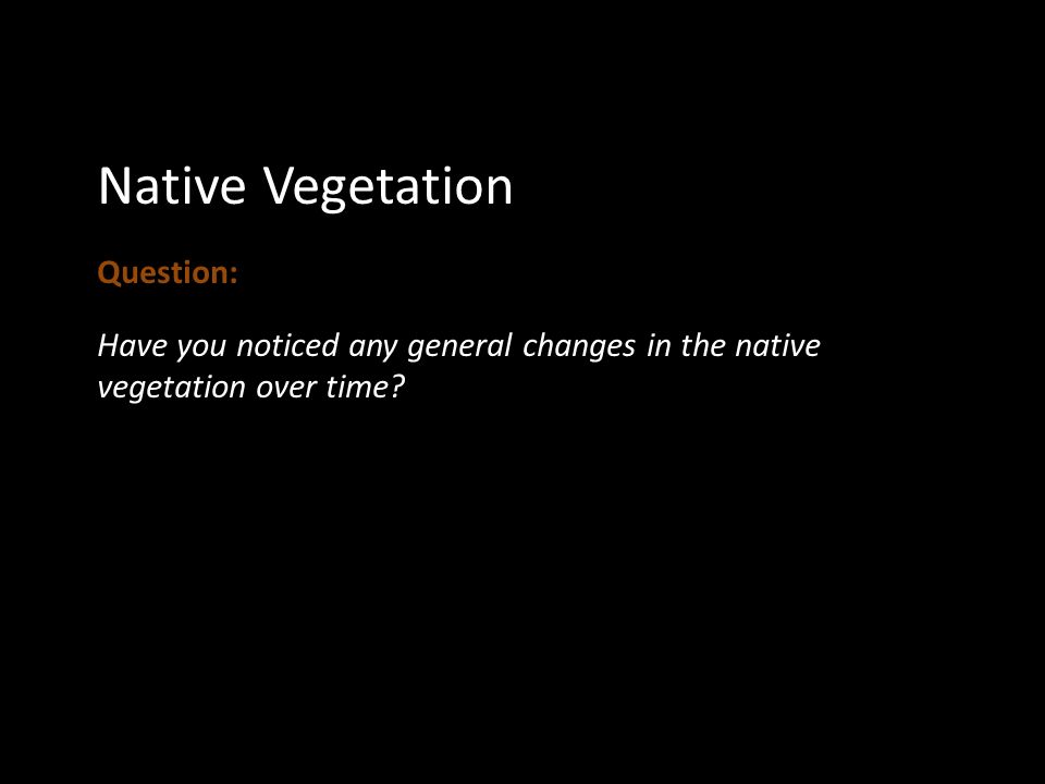 Native Vegetation Question: Have you noticed any general changes in the native vegetation over time