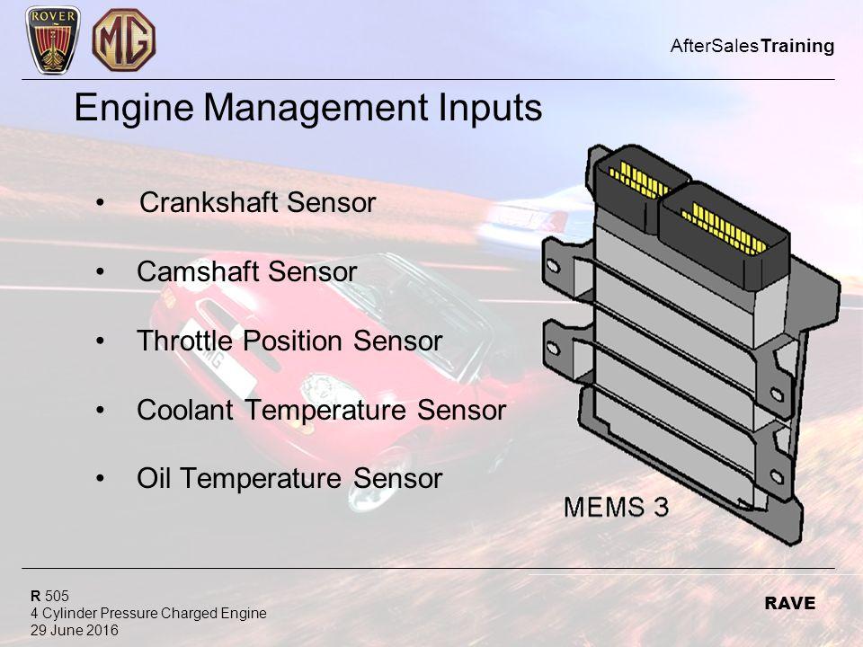 R 505 4 Cylinder Pressure Charged Engine 29 June 2016 AfterSalesTraining RAVE Engine Management Inputs Crankshaft Sensor Camshaft Sensor Throttle Position Sensor Coolant Temperature Sensor Oil Temperature Sensor