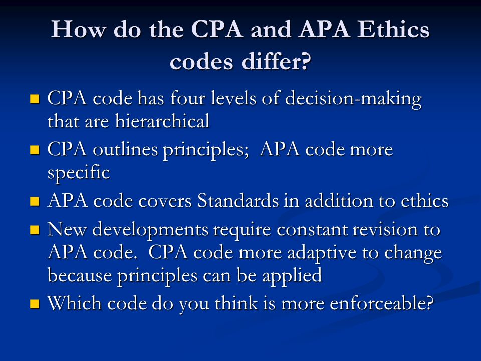 the apa code of ethics Free code of ethics papers, essays, and research papers.