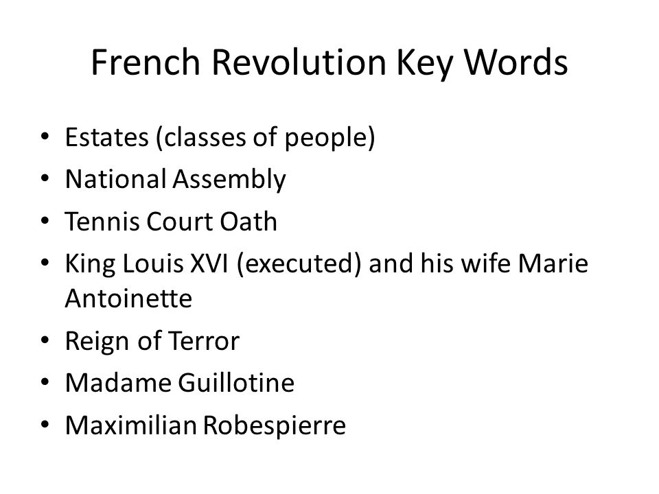 French Revolution Notes French Revolution Key Words Estates – French Revolution Worksheet