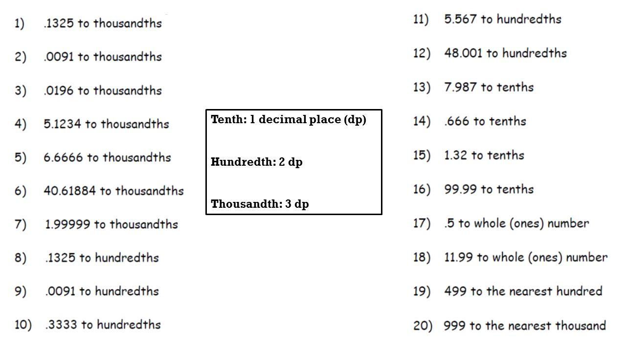 Decimal worksheets level 4