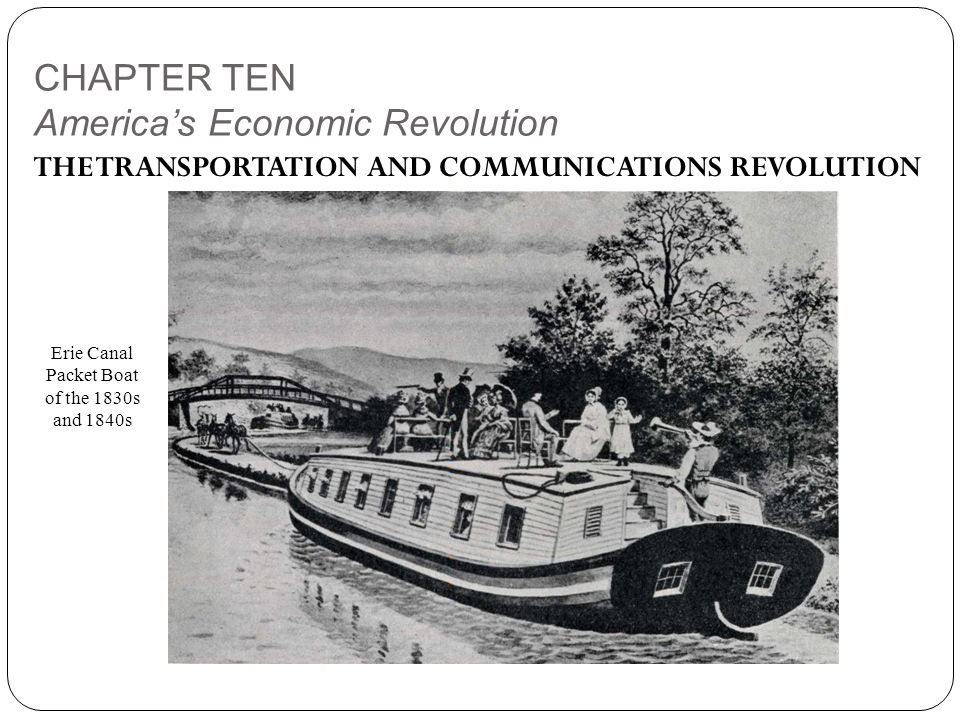 CHAPTER TEN America's Economic Revolution THE TRANSPORTATION AND COMMUNICATIONS REVOLUTION Erie Canal Packet Boat of the 1830s and 1840s