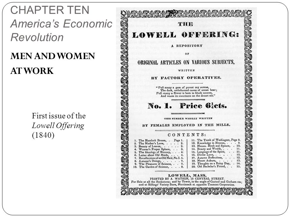 CHAPTER TEN America's Economic Revolution MEN AND WOMEN AT WORK First issue of the Lowell Offering (1840)