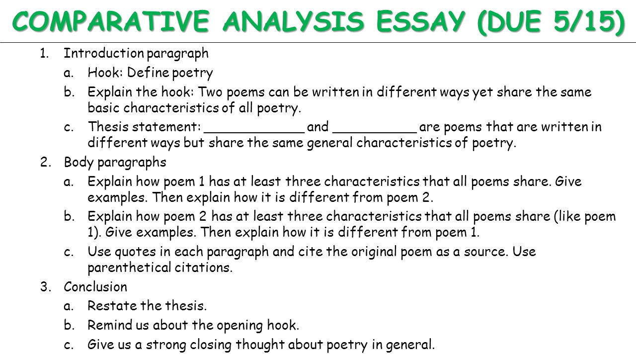 unit 6 literary analysis poetry english 10 standard 10 4k comparative analysis essay due 5 15 1 introduction paragraph a hook