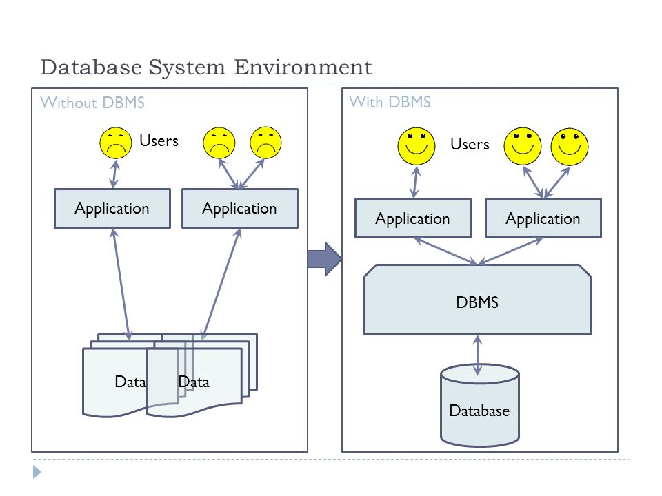 Big data yuan xue cs 292 special topics on ppt download 6 database system environment database dbms users data application data without dbms with dbms altavistaventures Choice Image