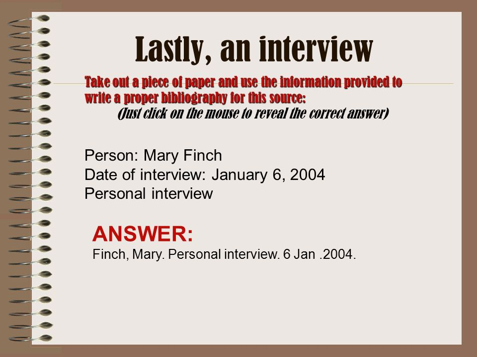 apa format personal interview