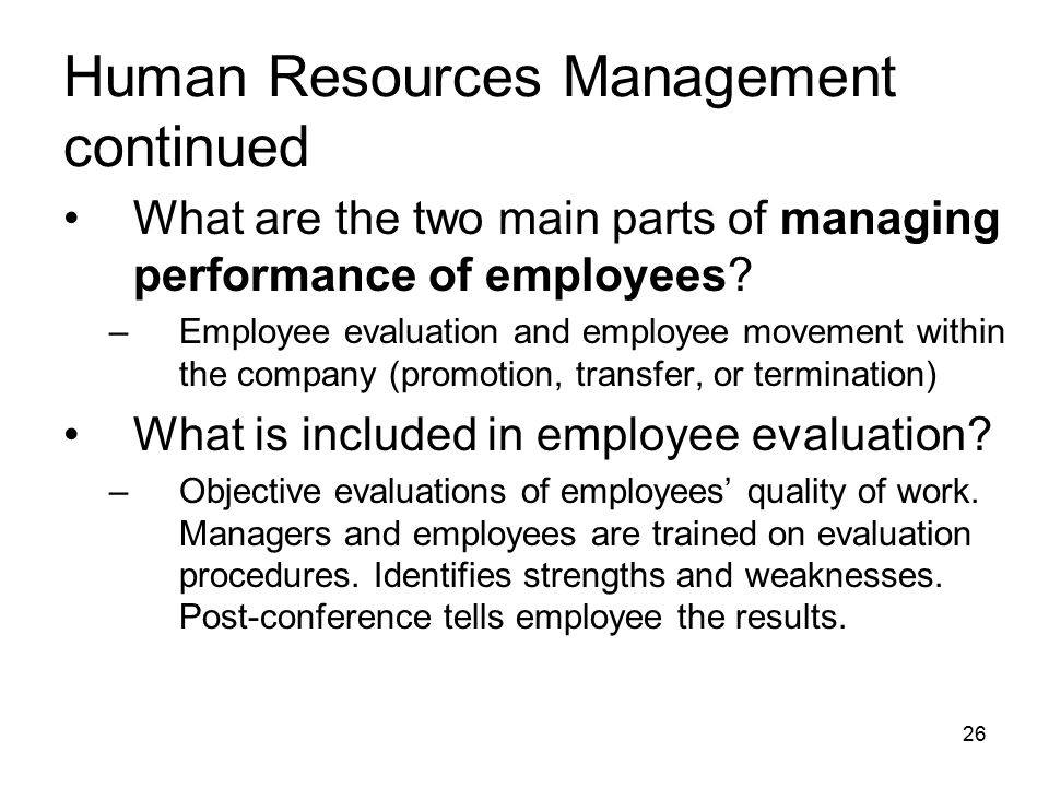 What are the two main parts of managing performance of employees.