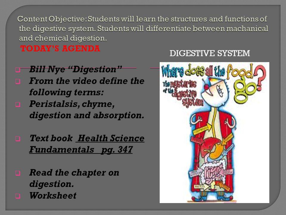Bill Nye Digestion Worksheet Checks Worksheet