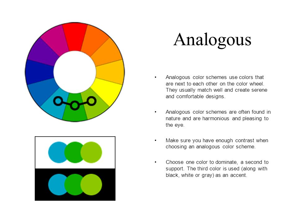 Analogous Color Schemes color schemes. complimentary colors that are opposite each other