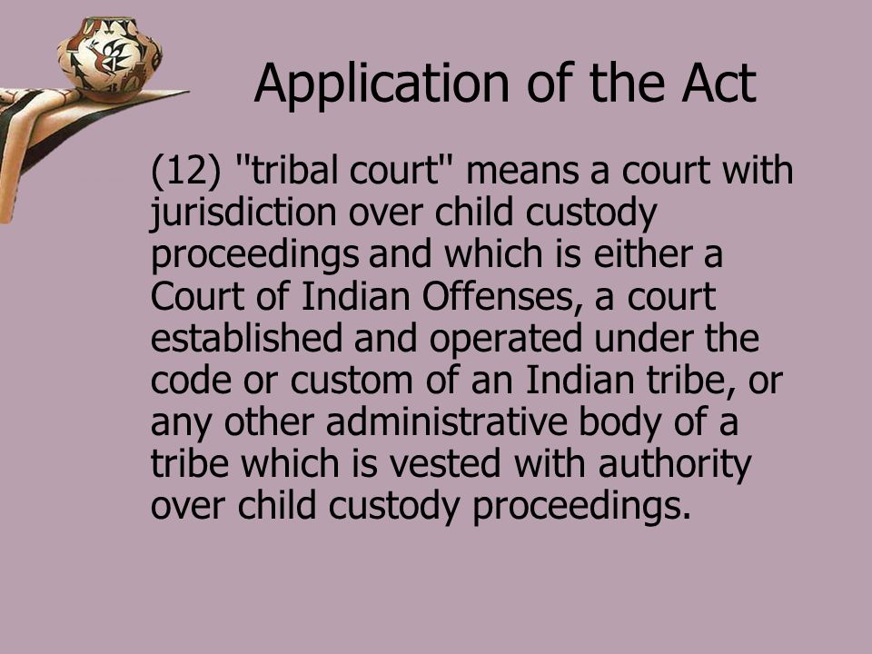 Application of the Act (12) tribal court means a court with jurisdiction over child custody proceedings and which is either a Court of Indian Offenses, a court established and operated under the code or custom of an Indian tribe, or any other administrative body of a tribe which is vested with authority over child custody proceedings.