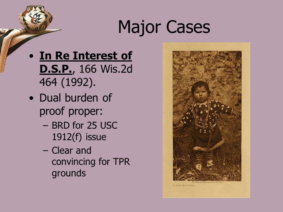 Major Cases In Re Interest of D.S.P., 166 Wis.2d 464 (1992).