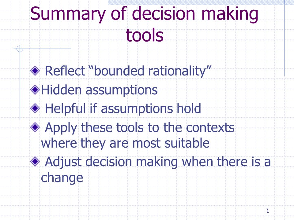 """decision making tools The challenge for many professionals today is to make better decisions, make more of them, and see those decisions implemented an individual's natural decision-making process often falls into two extreme camps: one tends to trust their instinctive """"gut-feeling"""" while the second becomes stalled by """"analysis-paralysis"""" or the search."""