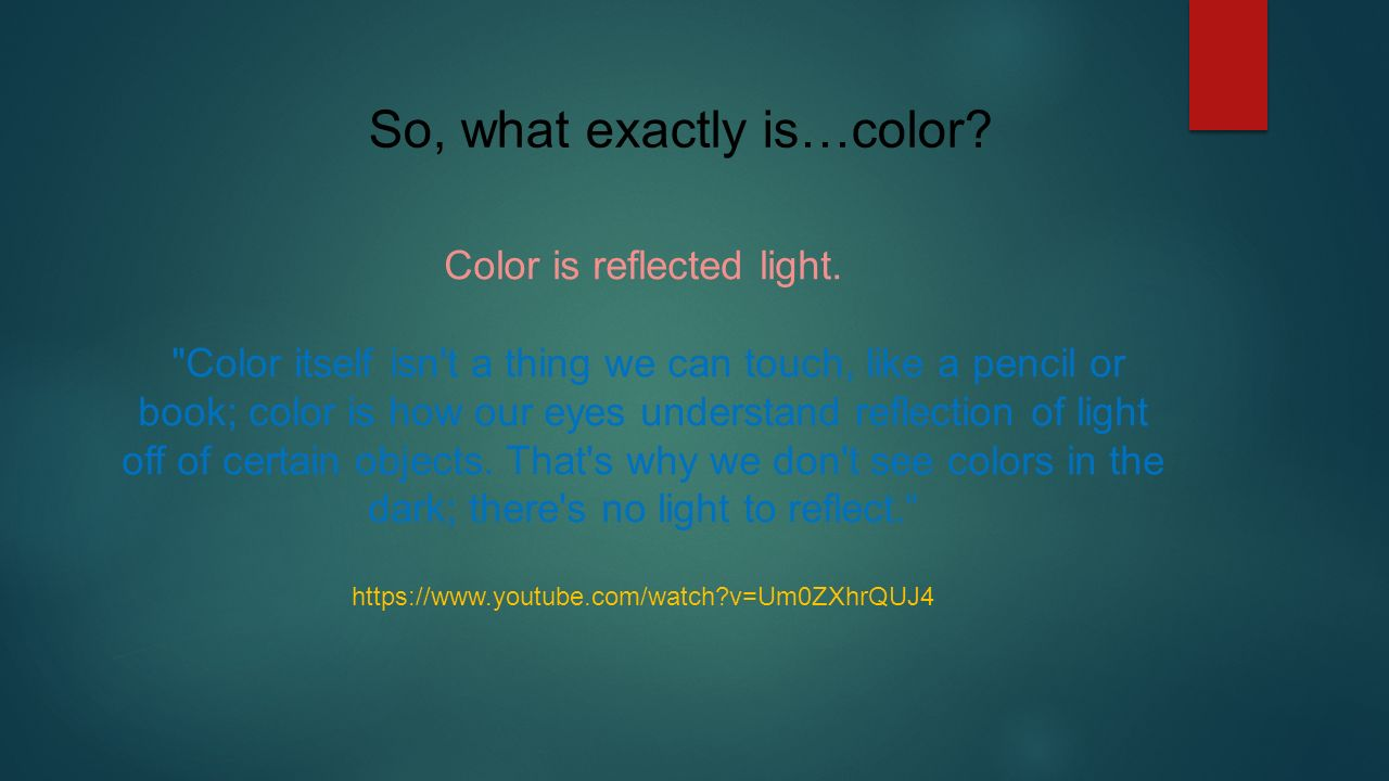color is reflected light - Color Theory Book