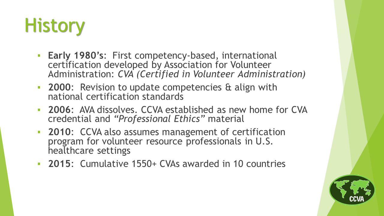 The cva credential a mark of excellence history of the cva early 1980s first competency based international certification developed by association for volunteer xflitez Choice Image