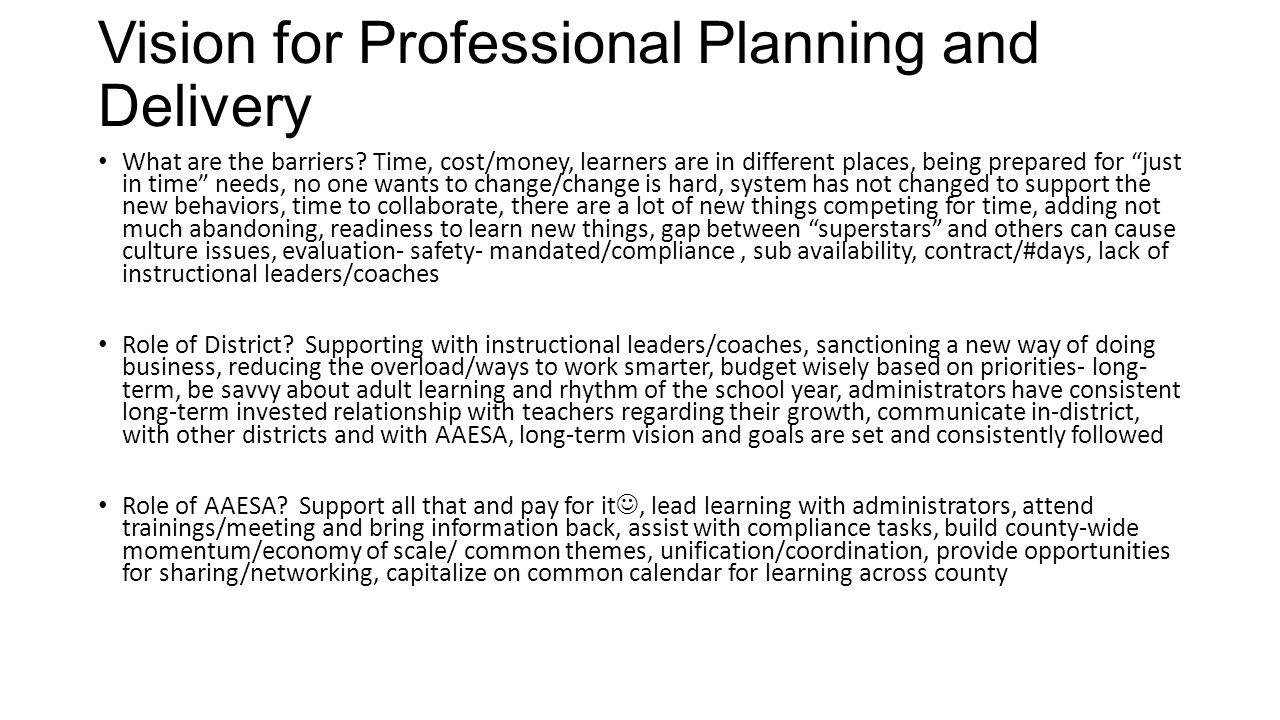 planning pd professional learning from high performing systems vision for professional planning and delivery what are the barriers